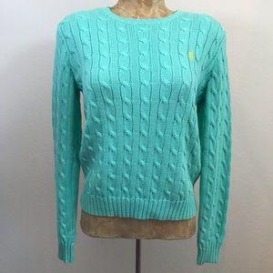 Ralph Lauren Cotton Cable Knit Sweater Sz M Teal